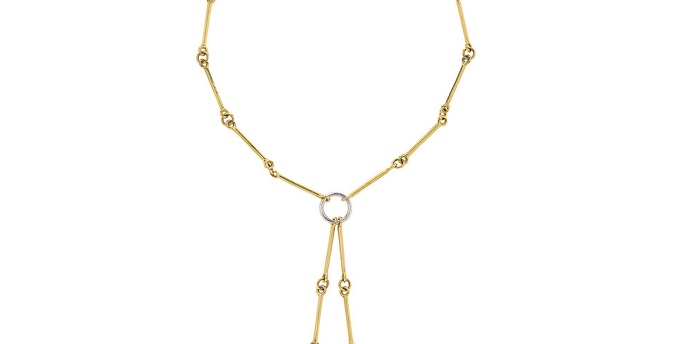 Signature Chain Mixed Gold Petite Lariat 18KMG