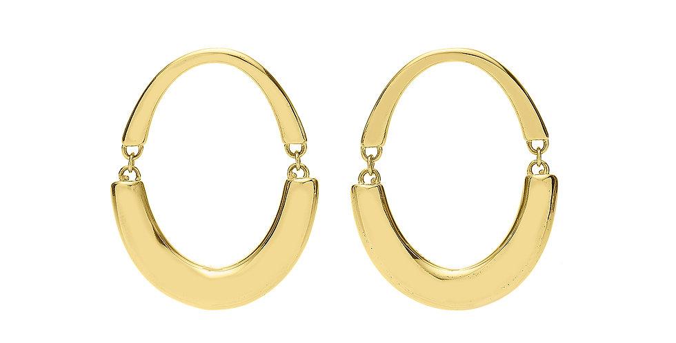 Signature Swinging Oval Hoop Earrings 18KY