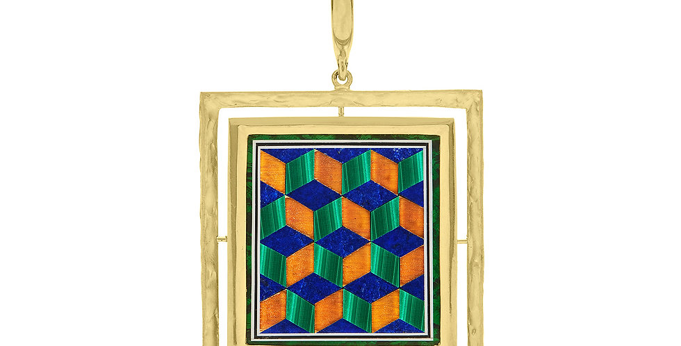 Icon Betty Geo Inlay Pendant 18KY