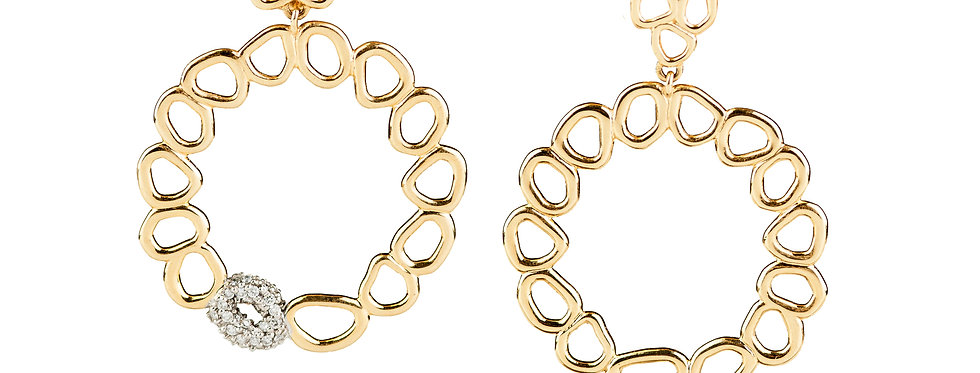 Organic front Facing Hoop Earrings with Diamonds 18KY