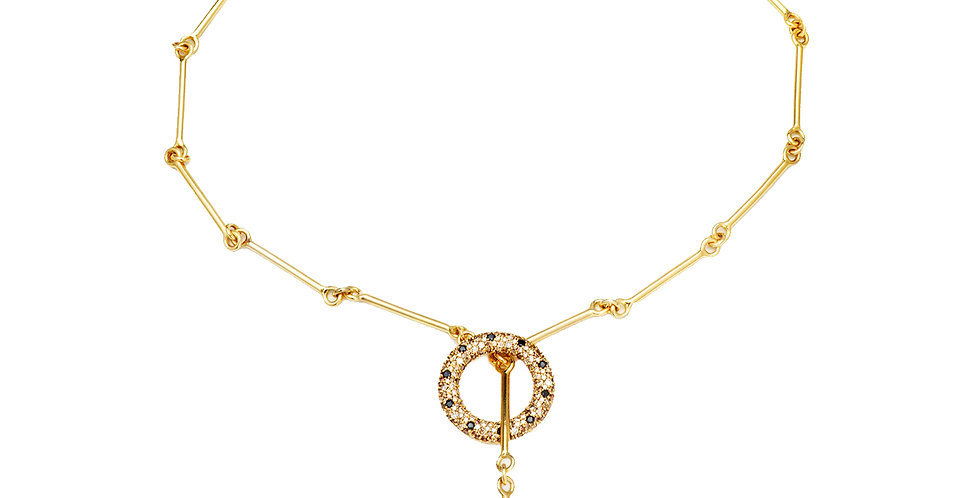 Signature Lariat Chain Necklace with Diamonds 18KY