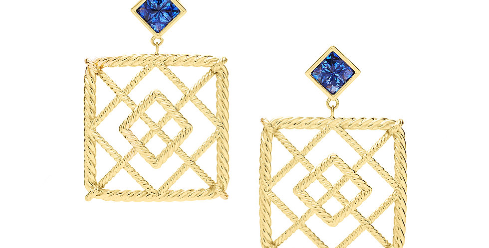 Icon Veil Blue Sapphire Earrings 18KY