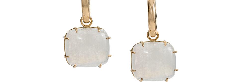 Moonstone Cabochon Earrings on Hoops 18KY