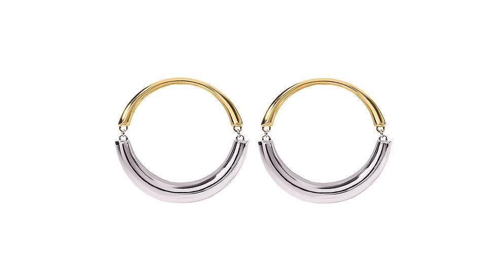 Signature Swinging Mixed Gold Pixie Hoop Earrings 18KMG