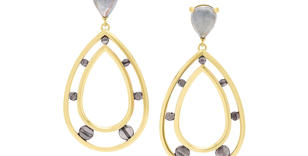 Space Between Rivet Gray Tourmaline Teardrop Earrings 18KY Black Rhodium