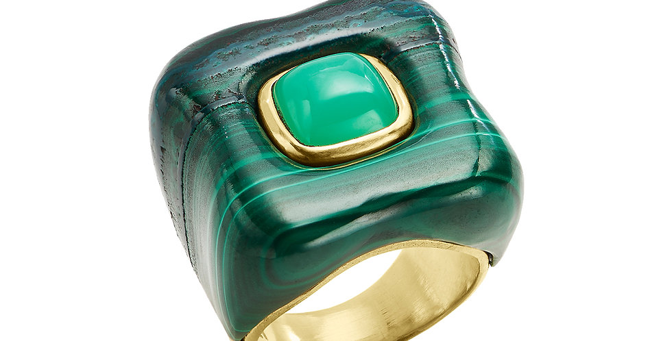 Draper Ring with Chrysoprase and Malachite 18KY
