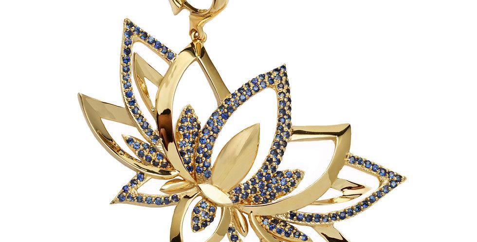 Blue Sapphire Lotus Detachable Pendant 18KY