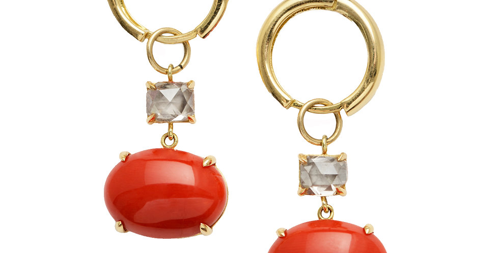 Mediterranean Coral Cabochon and Champagne Diamond Earrings 18KY