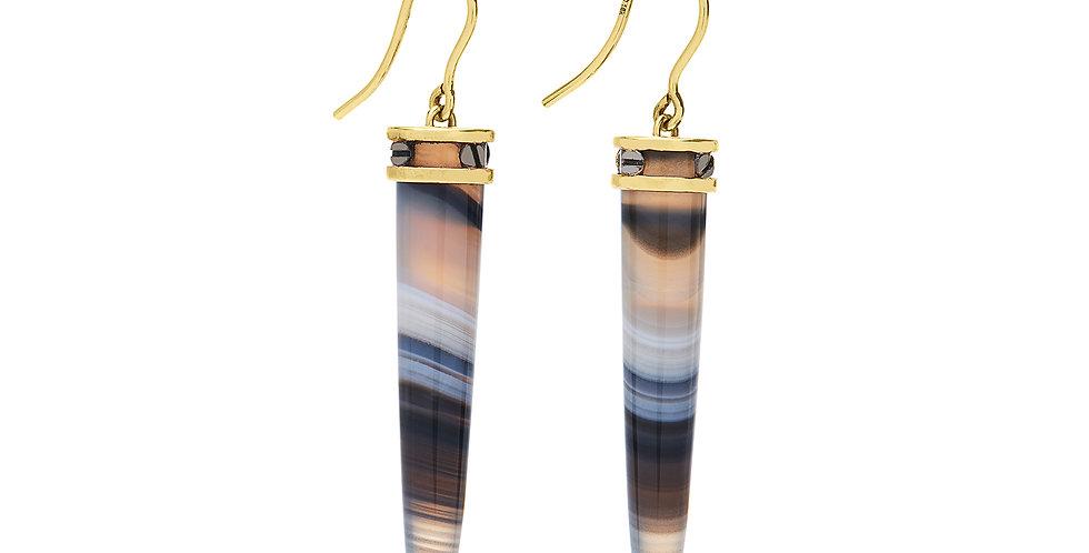 Rivet Gray Agate Rocket Earrings 18KY