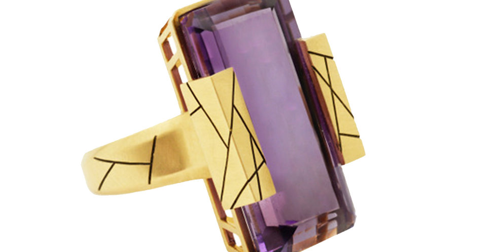 Cubist Etched Amethyst Ring 18KY