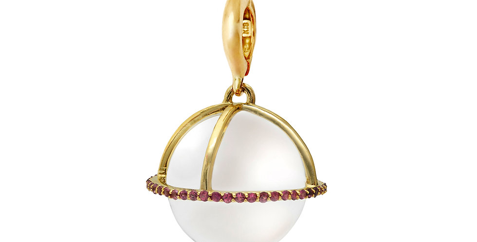 Crystal Ball with Merlot Sapphire Pendant 18KY