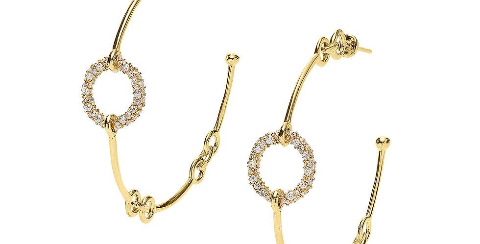 Signature Chain Diamond Hoop Earrings 18KY