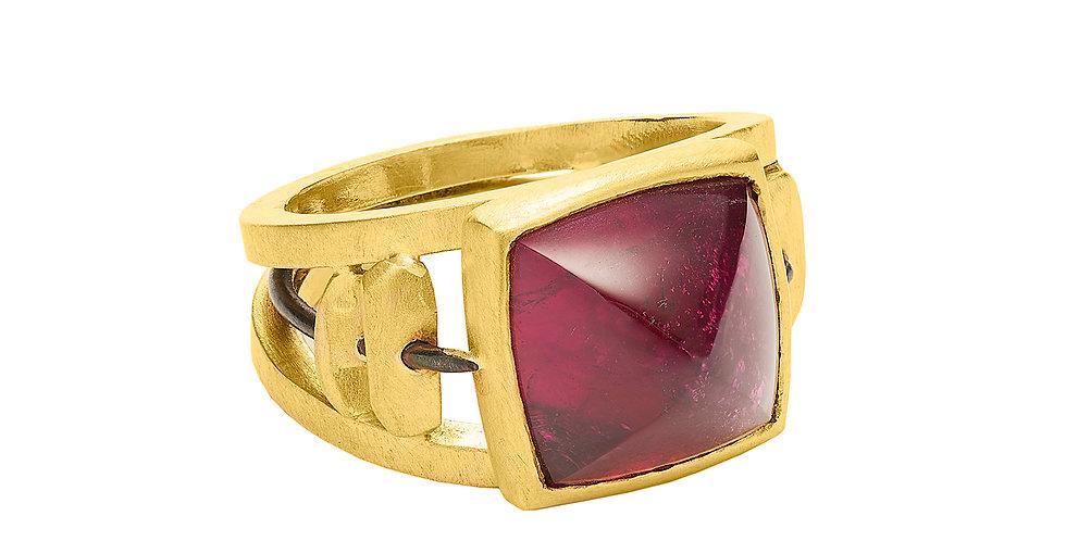 Red Tourmaline Totem Ring 22KY