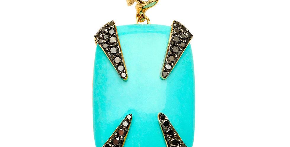 Turquoise with Black Diamond Talons Detachable Pendant 18KY
