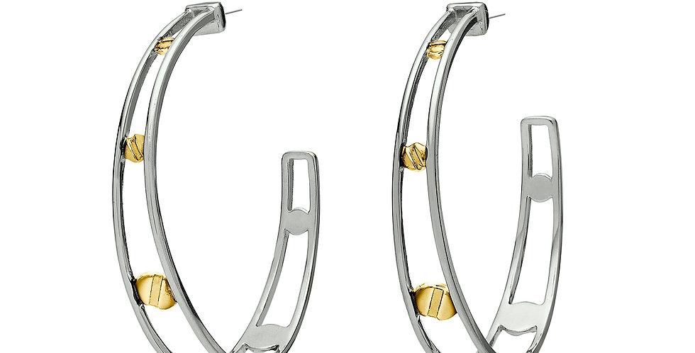 Space Between Rivet Hoop Earrings Black Rhodium Reversed