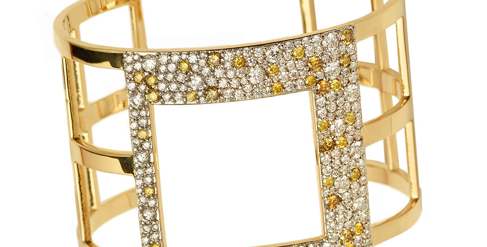 Cubist Offset Square Pane Cuff with White and Canary Diamonds 18KY