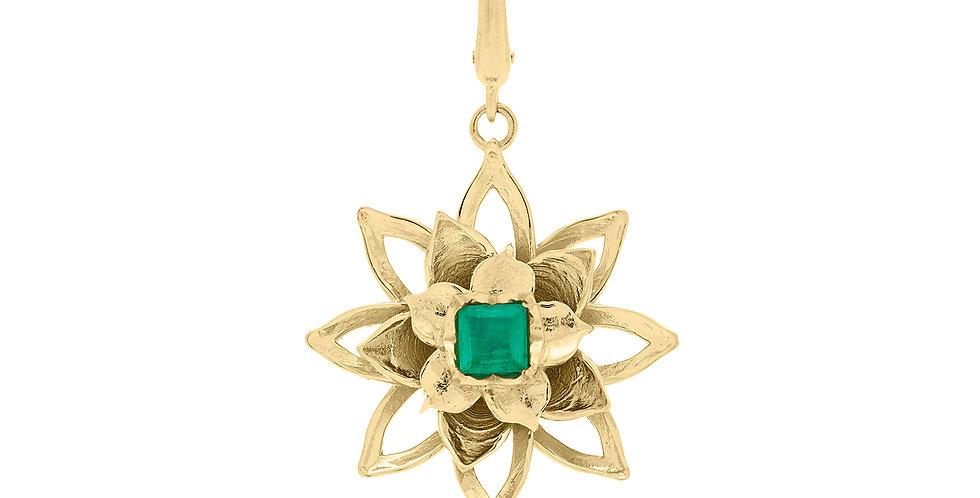 Lotus Emerald Charm 18KY