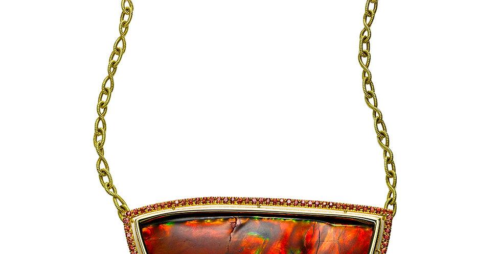 Orange Ammolite Necklace with Orange Sapphires 18KY