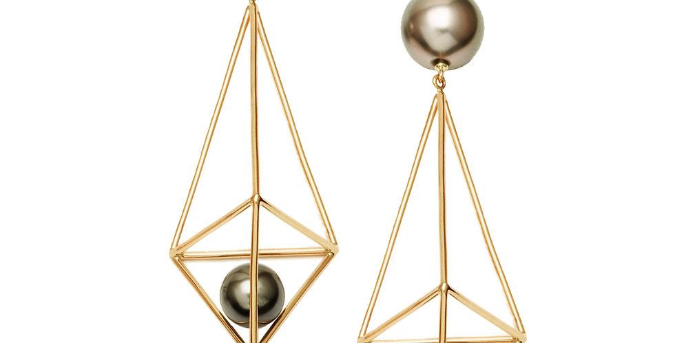 Silver Pearl Terrarium and Nesting Pearl Earrings 18KY