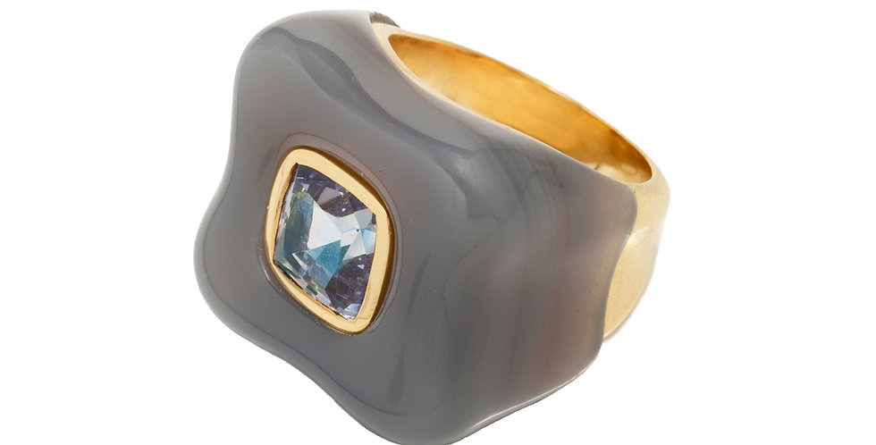 Draper Ring with Purple Spinel and Gray Agate 18KY