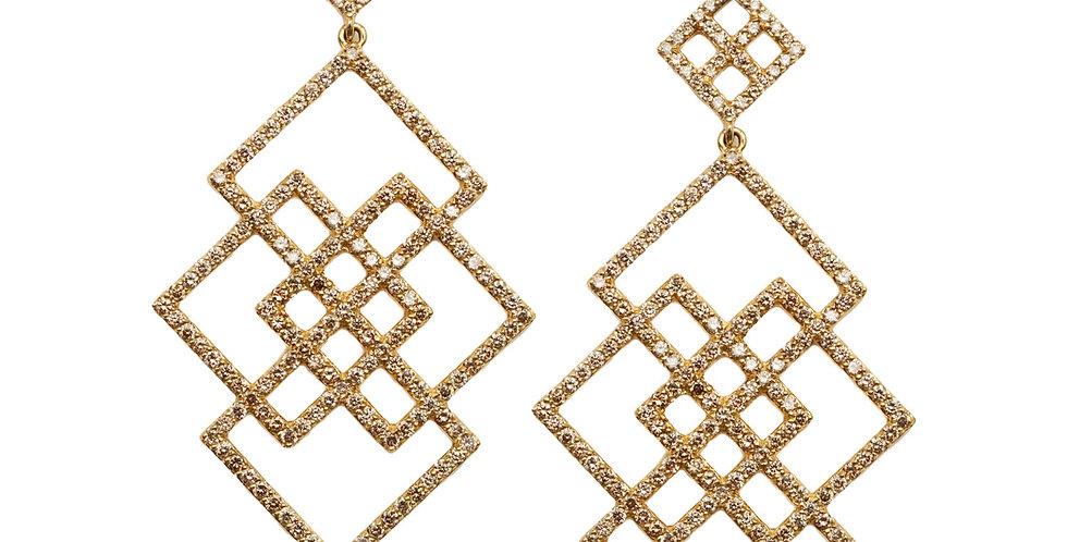Cubist Infinity Champagne Diamond Earrings 18KY