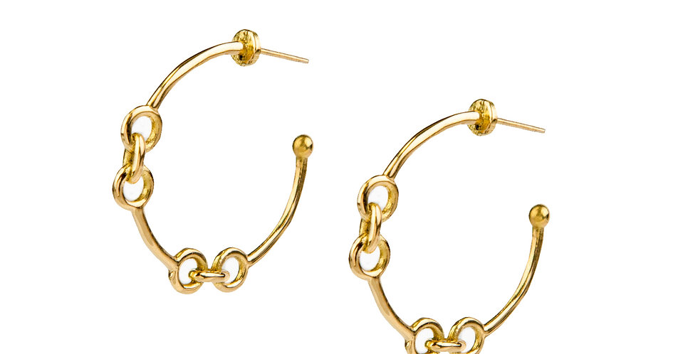 Signature Chain Small Hoop Earrings 18KY