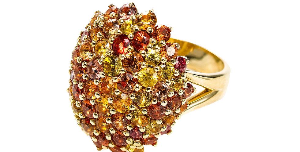 Fancy Orange Sapphire Ring 18KY