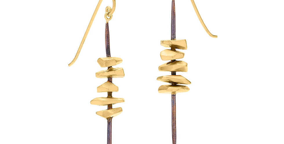 Totem Earrings Bronze and 22KY