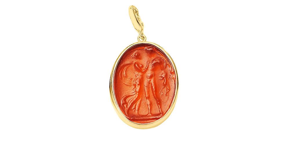 Glass Intaglio Charm Orange 18KY