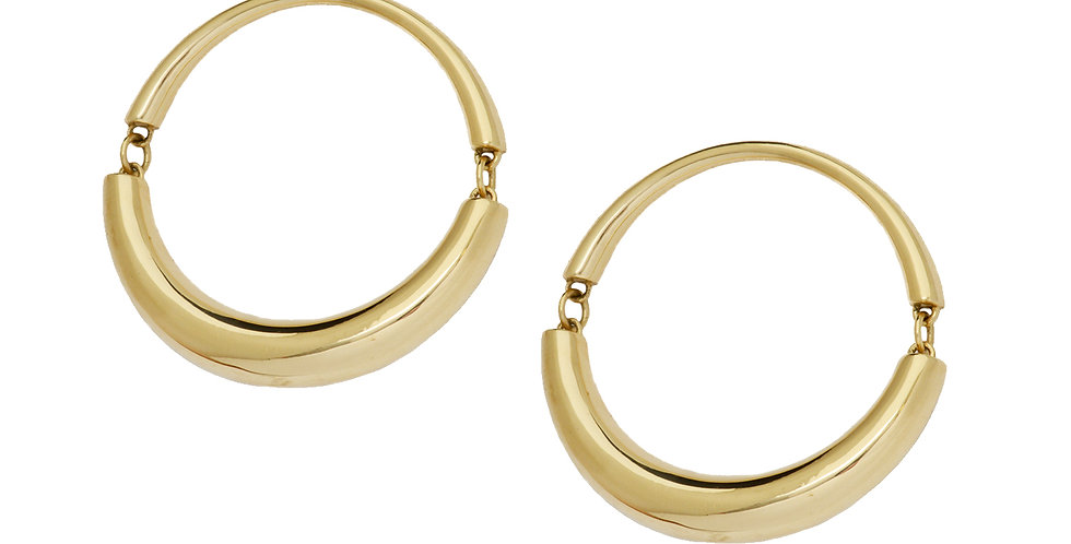 Signature Swinging Hoop Earrings 18KY