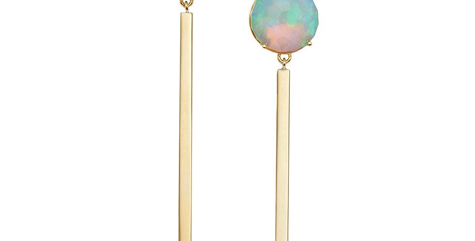 Rosecut Opal Matchstick Earrings 18KY