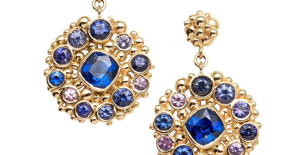 Pop Blue and Purple Sapphire Drop Earrings 18KY