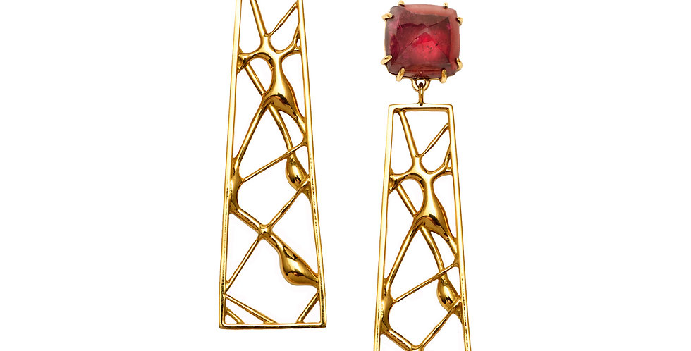 Abstraction Trapezoid Earrings with Red Tourmaline 18KY