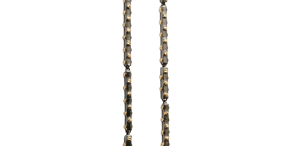 Rivet Stick Earrings 18KY and Rhodium