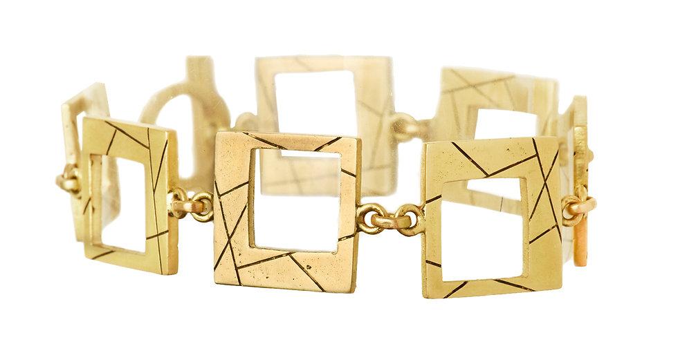 Cubist Etched Brush Link Bracelet 18KY