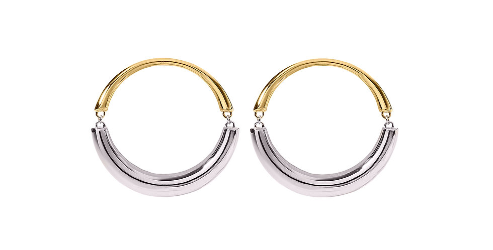 Signature Swinging Mixed Gold Pixie Hoop Earrings 18KMG