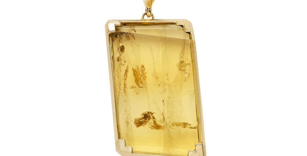 Mod Yellow Beryl Crystal Detachable Pendant 18KY