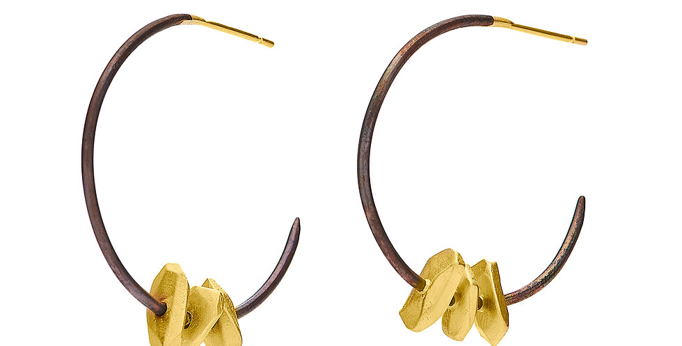 Totem Hoop Earrings Bronze and 22KY