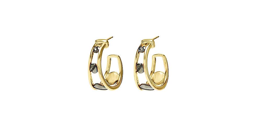 Space Between Rivet Pixie Hoop Earrings Black Rodium 18 KY
