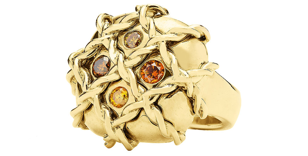 Icon Veil Ring with Spice Diamonds 18KY