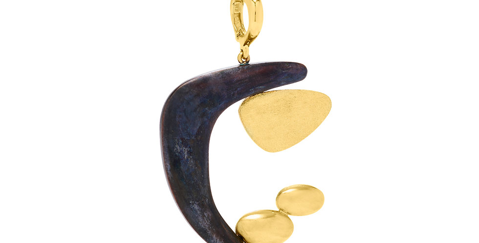 Stabile Moon Pendant Bronze and 22KY