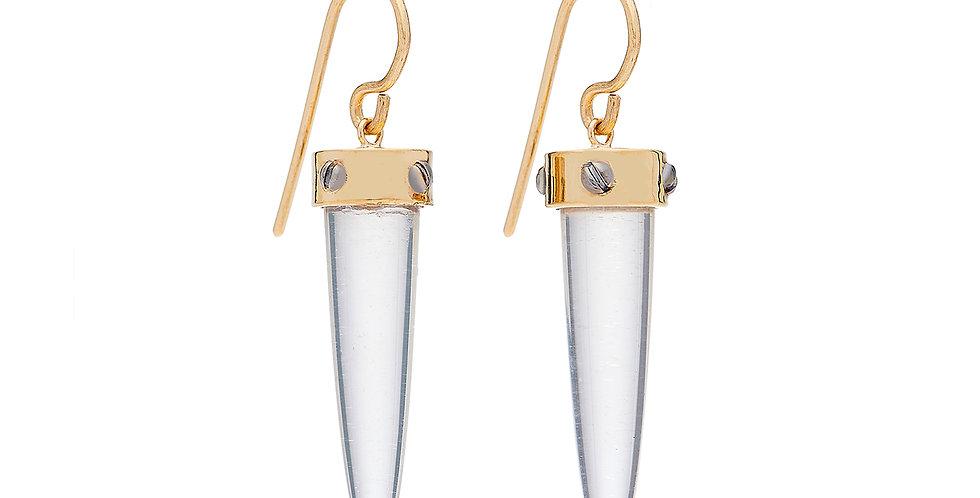 Rivet Glitter Quartz Rocket Earrings 18KY