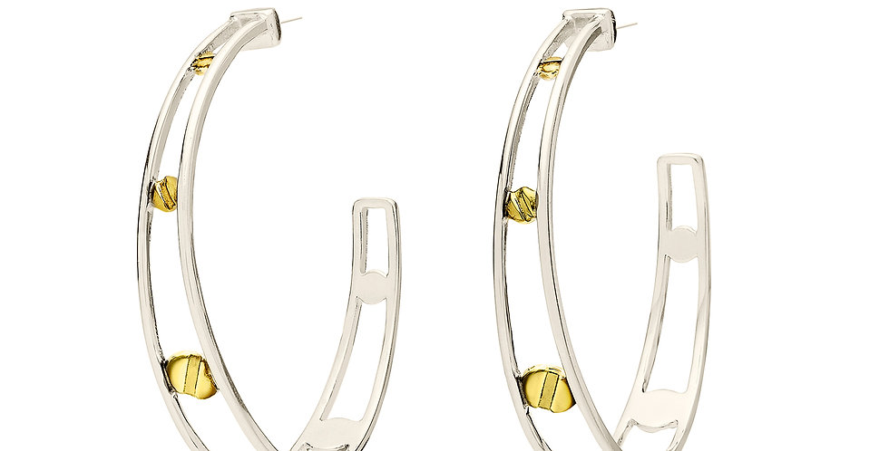 Space Between Rivet Hoop Earrings White Rhodium Reversed