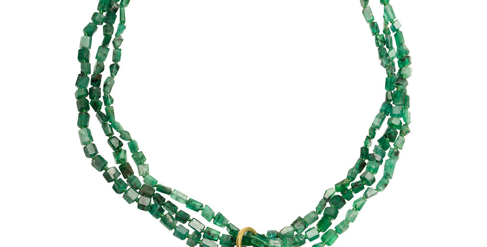Multi-Strand Emerald Necklace with Tsavorite Cube Pendant 18KY