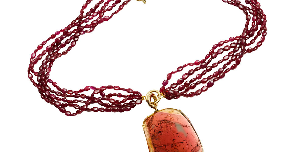 Multi-Strand Ruby Necklace with Tourmaline Pendant 18KY