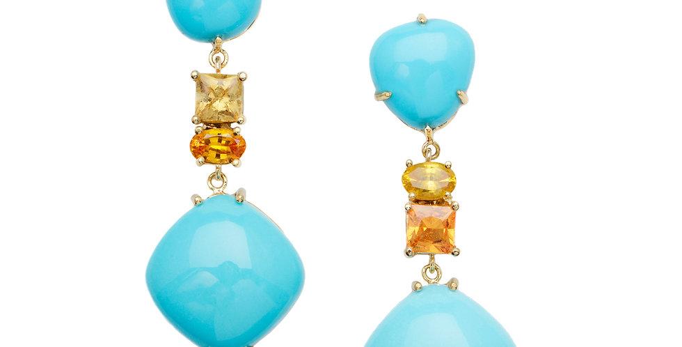 Turquoise & Orange Sapphire Drop Earrings 18KY