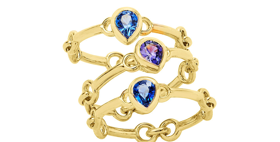 Signature Chain Sapphire Pear Stack Rings 18KY