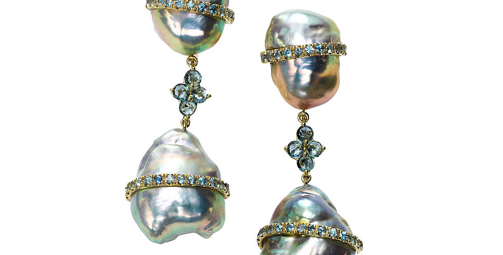Baroque Pearl Drop Earrings with Denim Sapphires 18KY