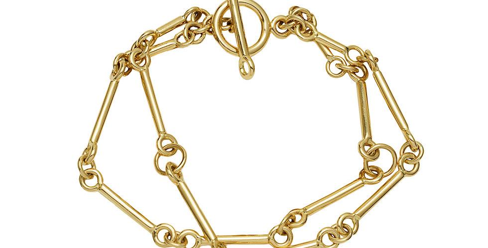 Signature Chain Charm Bracelet 2 Strand 18KY
