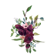 Watercolor-Burgundy-Flowers-Arrangement-